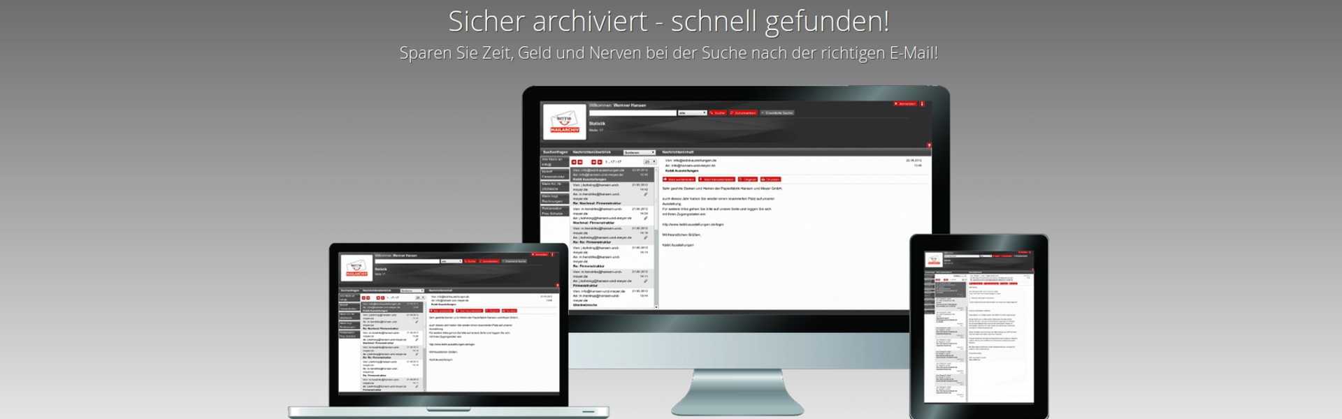 Benno MailArchiv auf iMac, MacBook, iPad