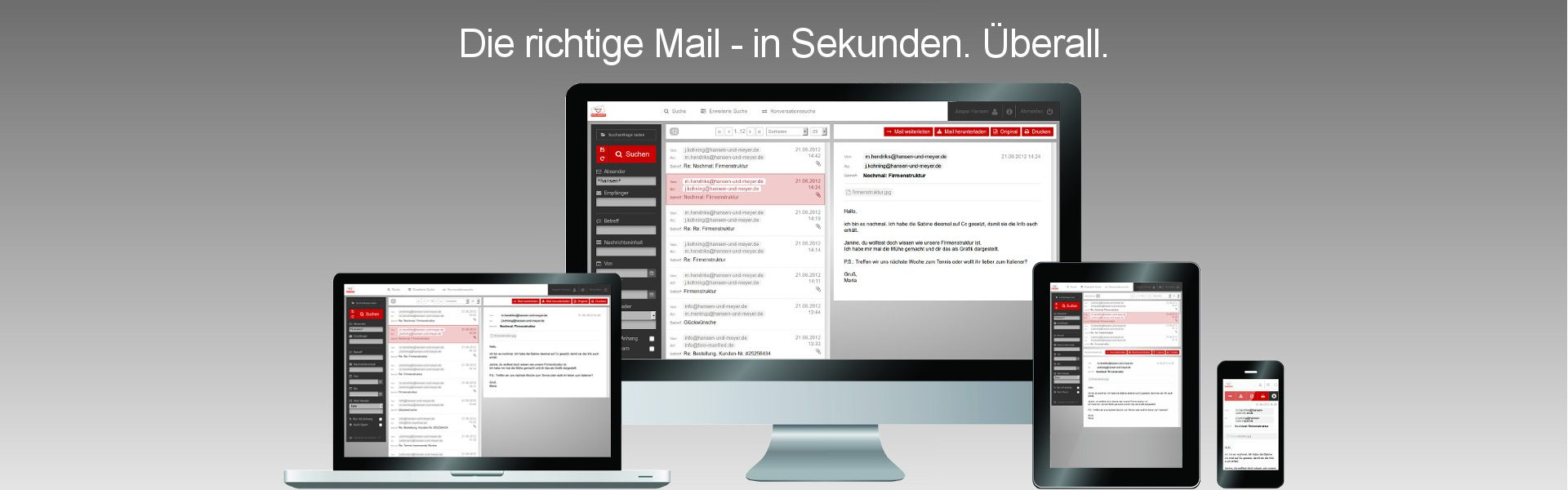 Benno MailArchiv auf iMac, PC, MacBook, Notebook, iPad, Tablet, iPhone, Smartphone, Android-Geräten